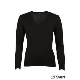 V-ringad tröja dam Stickad, svart