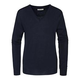 Stickad tröja Wilton V-ringad marin dam