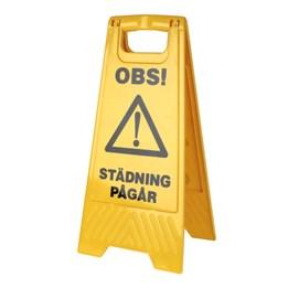 Varningsskylt med symbol Våta golv hårdplast