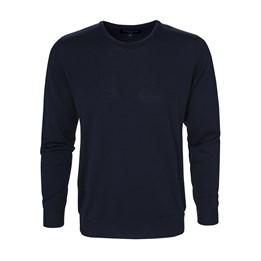 Stickad tröja Wilton rundhals marin herr