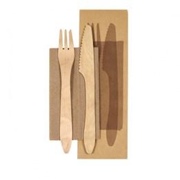 Bestickpåse Ecoecho kniv och gaffel i trä med servett 190mm