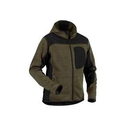 Stickad tröja / jacka med huva och zip Grönsvart