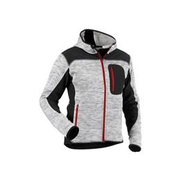 Stickad tröja / jacka med huva och zip Gråsvart