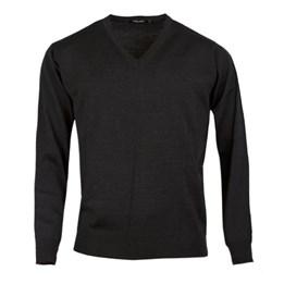 V-ringad tröja med merinoull svart, herr