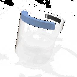 Skyddsvisir med blått skumgummi och kardborre