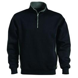 Sweatshirt med kort dragkedja Svart